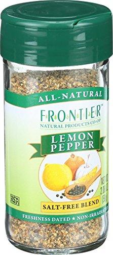 Frontier Seasoning Blends, Salt-Free Lemon Pepper, 2.08-Ounce Bottle