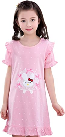 Camisones niñas/Ropa de Dormir de algodón niña/Bata de baño para niñas/Pijamas para niños/Manga Corta para niñas Verano/Se Puede Usar afuera: Amazon.es: Hogar