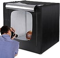 "Amzdeal Photo Studio 80 x 80 x 80cm(32"") Tente Lumineuse 4000LM avec 2 Bandes LED 5500K + 3 Fonds Anti-rides (Blanc,..."