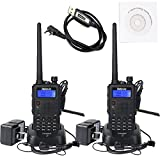 Retevis RT5 (Generation 2) Dual Band 2 Way Radio 8W VHF/UHF 136-174/400-520MHz 128 Channels FM Scan VOX DTMF Car Charging Function Ham Amateur Radio(Back,2 pack)with Programming Cable (1 Pack)