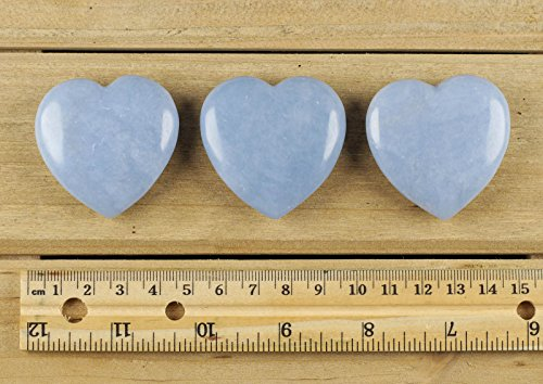 ThrowinStones Blue ANGELITE Heart Shaped Crystal - One Genuine Natural Angelite Polished Heart Stone, Crystals and Healing Stones E0164