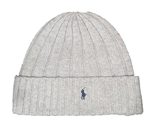 (Polo Ralph Lauren Unisex Lambswool Skullie Cap Light Gray Beanie Hat Wool/Nylon OS )