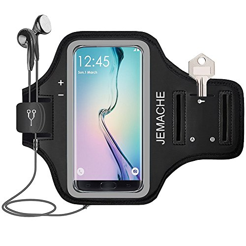 Galaxy Note 8/S7 Edge/S8/S8+ Armband, JEMACHE Gym Run/Jog/Exercise Workout Arm Band Case for Samsung Galaxy S6/S7/S8/S8 Plus, S6/S7 Edge, Note 5 8 with Key/Card Holder