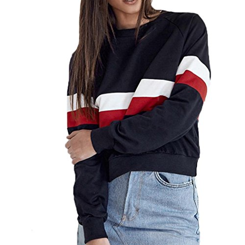 (Sweatshirts Mikey Store Womens T-Shirt Crewneck Long Sleeve Patchwork Casual Tops (X-Large, Navy))