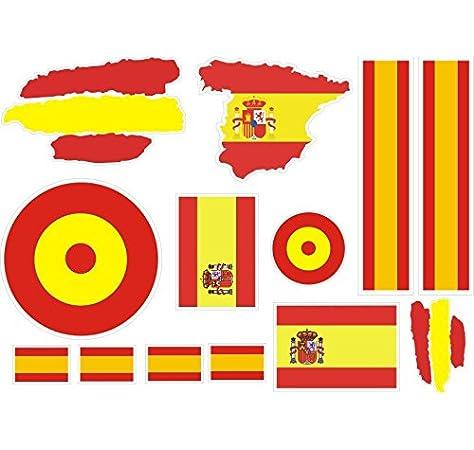 lote Pegatina vinilo para coche, pared, puerta, nevera, carpeta, etc. Bandera espana: Amazon.es: Coche y moto