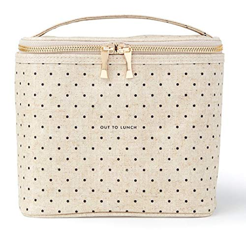 Kate Spade New York Lunch Bag Cooler Tote | Durable Insulated Canvas with Leak Proof Liner | Soft Side Bag with Handle Strap | Cream Tiny Deco Dot
