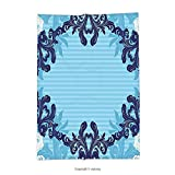 vipsung Throw Blanket with Floral Abstract Art Vector Ornament of Flowers and Leaves Illustration White Dark Blue and Sky Blue Super Soft and Cozy Fleece Blanket