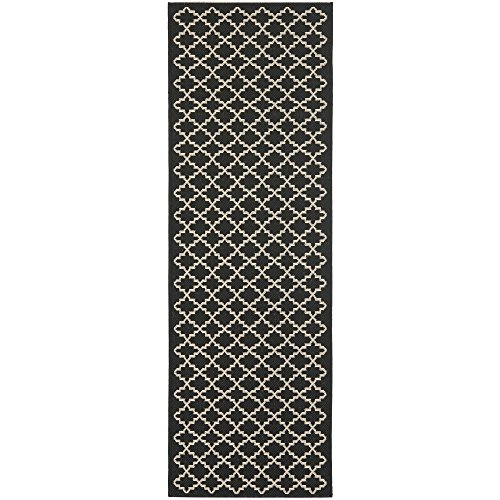 Safavieh Courtyard Collection CY6919-226 Black and Beige Indoor/ Outdoor Runner (2'3