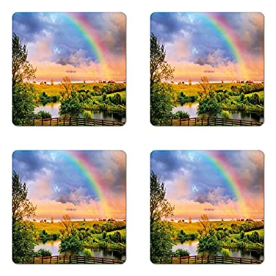 Rainbow Coaster Set of Four by Lunarable, Kentucky Countyside with Lively Green Pastures River and a Rainbow, Square Non-Slip Rubber Coasters for Drinks, Hunter Green Multicolor