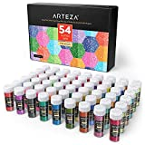 ARTEZA Fine Glitter, Set of 54 Colors, Shaker Jars (0.34oz/9.6 g) Glow Under UV Black Light, Extra Fine, All Purpose for Body, Face, Slime, Crafts