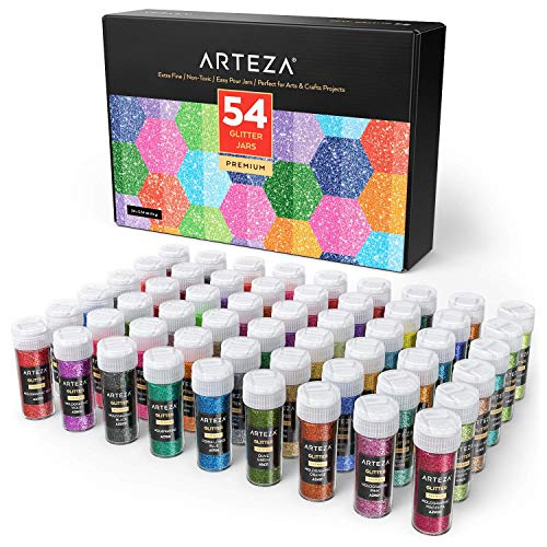 - ARTEZA Fine Glitter, Set of 54 Colors, Shaker Jars (0.34oz/9.6 g) Glow Under UV Black Light, Extra Fine, All Purpose for Body, Face, Slime, Crafts