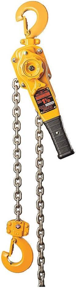 15 ft Lift Lever Chain Hoist 1 Hook Opening LB015-15-SYH 3000 lb Load Capacity Harrington Hoists