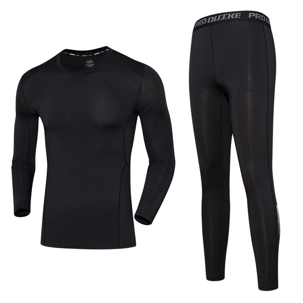 Kmgjc Herren Fitness Wear Lauf Langarm Breathable Trikot - Sport-Set 2-Teiliges Set