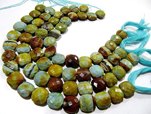 Natural BoulderOpal Faceted Cushion Shape Briolette Size Approx 12-13mm Strand 8 Inches Long,Boulder Opal Jewelry Making ()