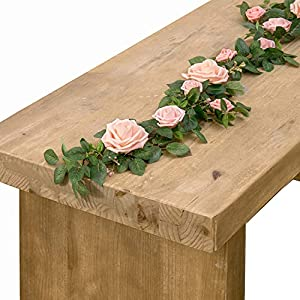 Ling's moment 5FT Handcrafted Artificial Rose Flower Runner Rustic Flower Garland Floral Arrangements Wedding Party Table Decoration Garland 32