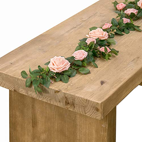 Ling's moment Handcrafted Rose Flower Runner 5FT Artificial Blush Pink Rose Flower Arrangements for Wedding Table Flowers Arch Decorations