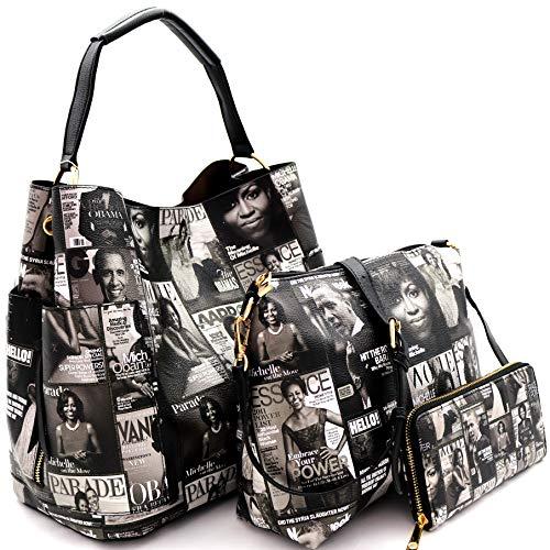 Michelle Obama Magazine Cover Print Multi Pocket 3 in 1 Single Strap Hobo Purse Handbag Crossbody Bag Wallet SET (Matte Leather - Black/White)