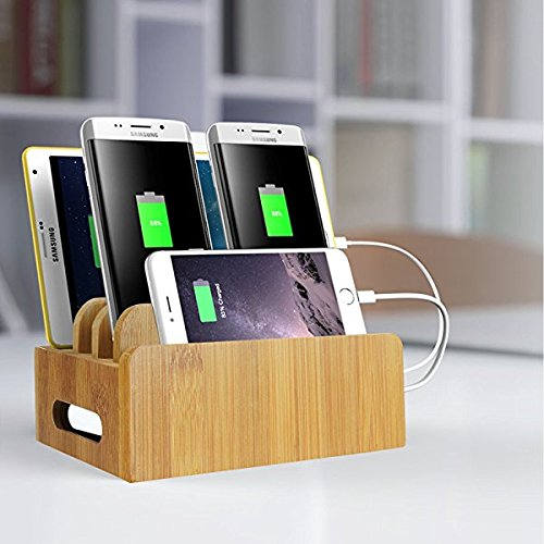 LENPOW Natural Bamboo Universal Charging Station Dock Stand Multi-device Organizer for Phones Pad Tablets Laptops - Strong Build ,Eco-Friendly