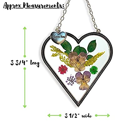 BANBERRY DESIGNS I Love You - Heart Sun Catcher - Pressed Flowers Suncatcher with I Love You Hanging Charm : Garden & Outdoor