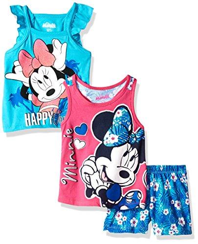 Hot Short Set (3 Piece Minnie Mouse Short Set, Blue/Hot Pink, 2T)