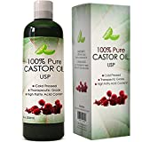 Facial Massage For Beard Growth - Pure USP Grade Castor Oil for Hair Growth Acne Prone Skin All-natural Cold Pressed and Refined Best Carrier Serum for Dry Skin Scalp Treatment for Hair Loss and Thicker Eyelashes for Men and Women