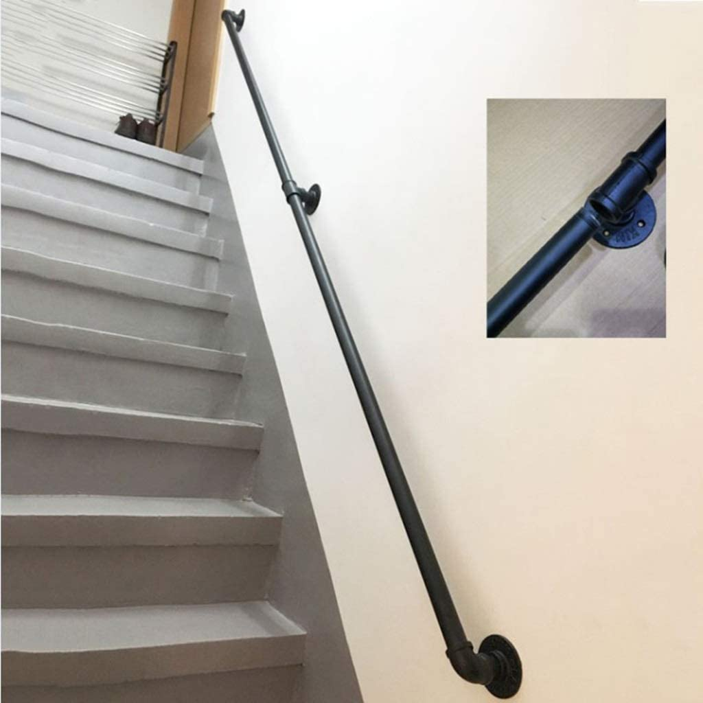 Size : 2ft CMMC Handrail -Complete Kit Professional Rustic Industrial Wrought Iron Pipe Stairs Handrails Indoor Outdoor Stairs Porch Deck Hand Rail Wall Mounted Black Stairway Railing 1ft-20ft