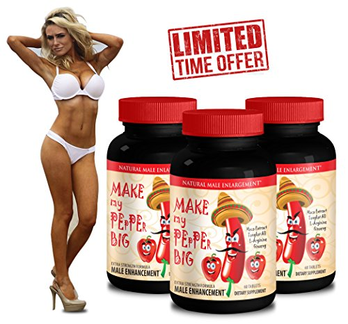 Tongkat Ali Male Enhancement Formula Make My PEpPEr Big with Maca Root, L-Arginine, Ginseng 3 Bottles 180 Capsules