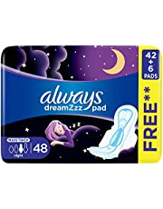 Always Dreamzz pad Clean & Dry Maxi Thick, Night long sanitary pads with wings, 48ct