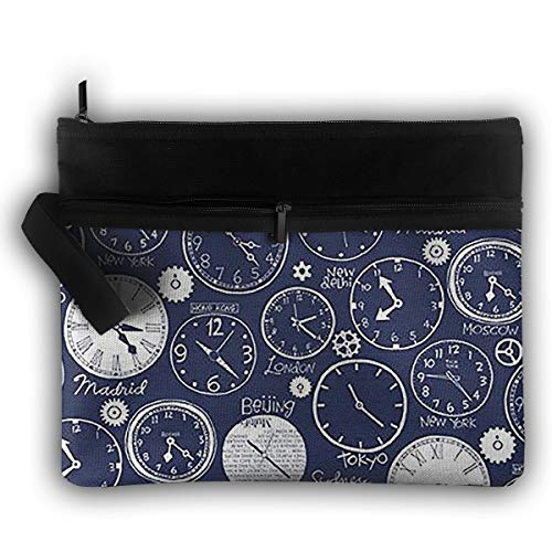 Roomy Cosmetic Bag Travel Toiletry Pouch Makeup Bag Alarm Clock Purse Lightweight Handbag Organizer With Zipper ()