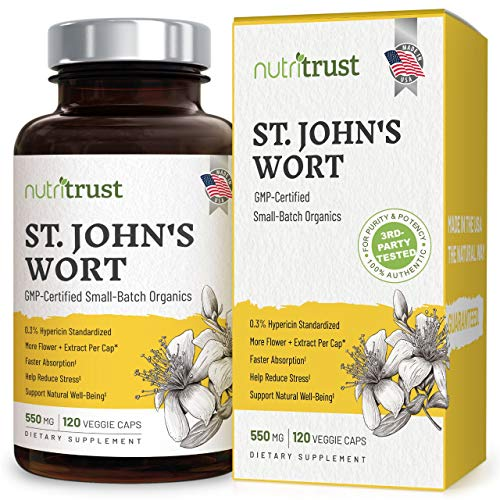 #1 Best St Johns Wort - Stronger 120 Ct 1200mcg Hypericin + 550mg Pure Vegan Saint Johns Wort Capsules with Extract and Powder for Potent Non-GMO Mood Boosting