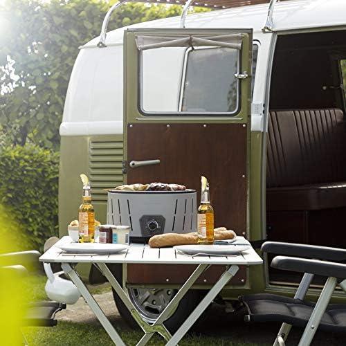 Barbecue charbon portable Campart BQ-6840 – Fonction démarrage rapide – Ventilateur – Diamètre 30 cm