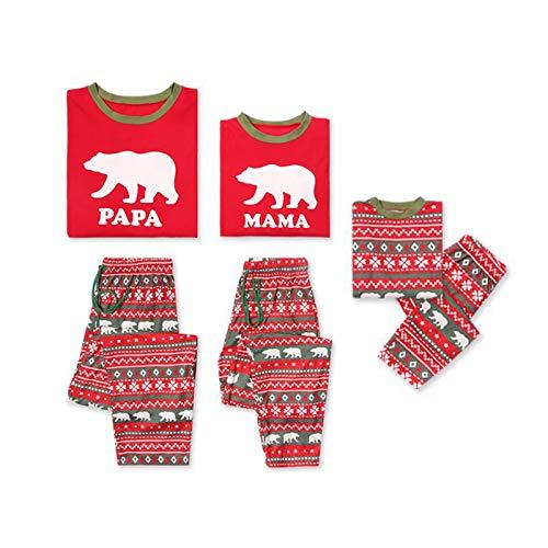 Family Matching Christmas Pajamas Set, Pajama Pants Bear PJS Set for Men Women Kids (Kid/160 (8-10T))