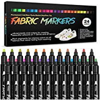 Fabric Markers Permanent Paint Pens: Fine Point Textile Marker for T Shirts, Canvas, Bags,Baby Clothes, Sneakers, Jeans…