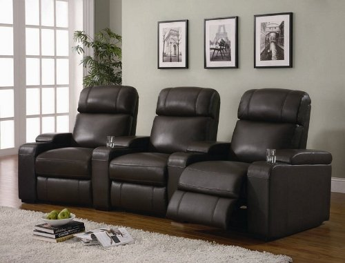 Power Motion Home Theater with Beverage Holder in Dark Brown Leather