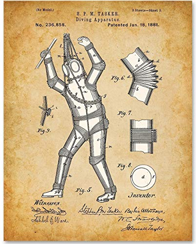 - Diving Apparatus - 11x14 Unframed Patent Print - Great Gift for Scuba Divers