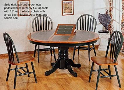 Amazon.com: 5pc Oak & Green Oval Dining Table w/Tile Top ...