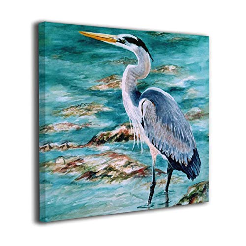- Moqiart Great Blue Heron Watercolor Modern Home Decor Wall Art Painting Wood Inside Framed Hanging Wall Decoration Abstract Painting Ready to Hang 12