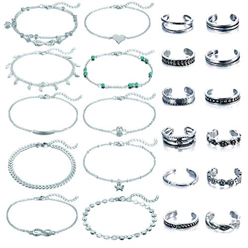Dremcoue Adjustable Beach Anklets Toe Rings for Women Girls Band Open Toe Ring Anklet Bracelets Chains Beach Foot Jewelry Set 15-22 pcs (Anklet Toe Ring Set)
