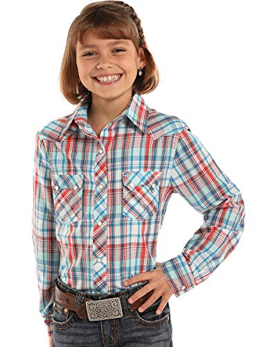 (Panhandle Girls' Lurex Plaid Western Shirt (Large))