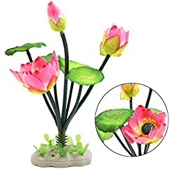 uxcell Pink Plastic Lotus Flower Aquarium Fish Tank Decor Aquatic Ornament w Stand