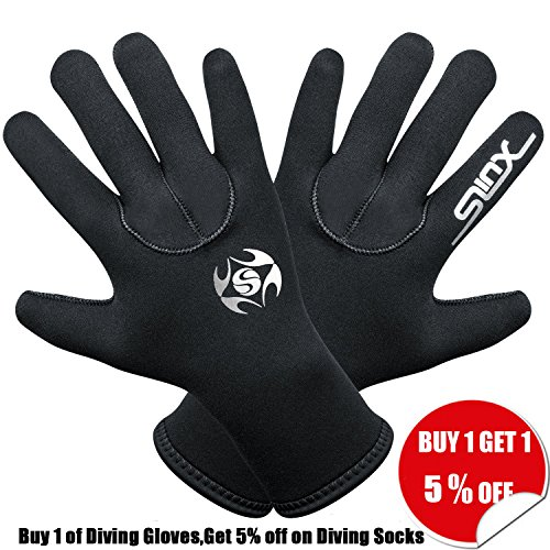 Diving Gloves Neoprene Waterproof 3mm SCR Warm Thermal Materials,Reduces The Loss of Body Temperature, Durable and Flexible, Underwater Diving Activity