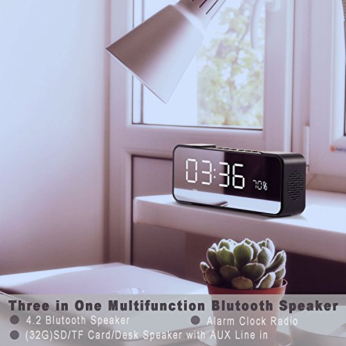 2018 Newest Alarm Colck Radio with 10W Wireless Speaker, Alarm Clock with 12/24 Hours DisPlay & LED Nightstand Clock and Large LED Dimmable Display, A Best Gift for Men Women Teens-Black
