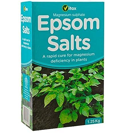 Vitax Ltd Epsom sales - 1, 25 kg listo para usar - planta piensos alimentos - Hoja Tonic - Treats magnesio deficiencia: Amazon.es: Jardín
