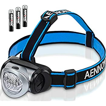 LED Headlamp Flashlight with Red Lights for Running, Camping, Reading, Kids, DIY & More - Super Bright, Lightweight & Comfortable - Headlamps come with Batteries
