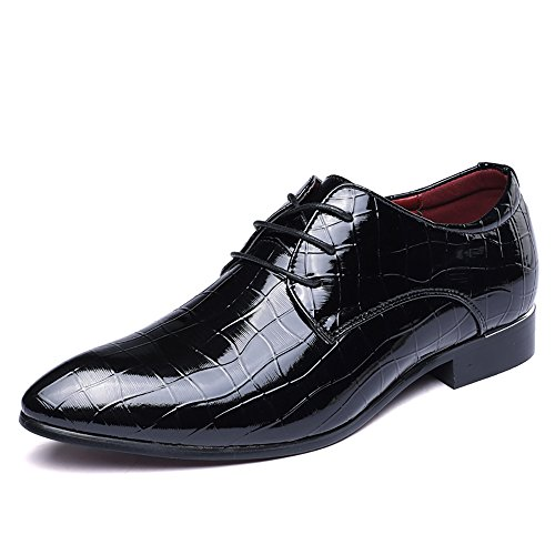 2018 Men's Fashionable Collection Patent Leather Oxfords Shoes Wedding Business Formal Party Shoes Glossy Eye Catching Design (Men's 11.5 = Women's 12.5 / EU 45, Black) by Jacky's Oxfords Shoes