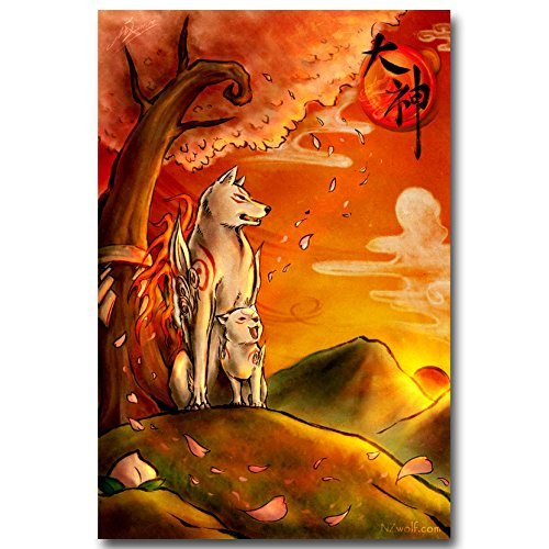 Lawrence Painting Okami Fire Wolf God Art Canvas Poster Print Japanese Game Pictures For BedRoom Decor