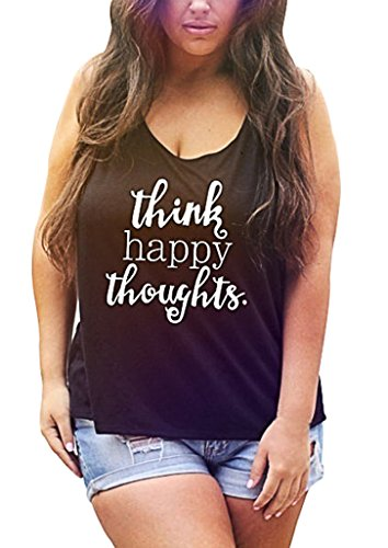 Sumtory Women Plus Size Letter Printed Sleeveless Tank Top Shirt – Large, Black2