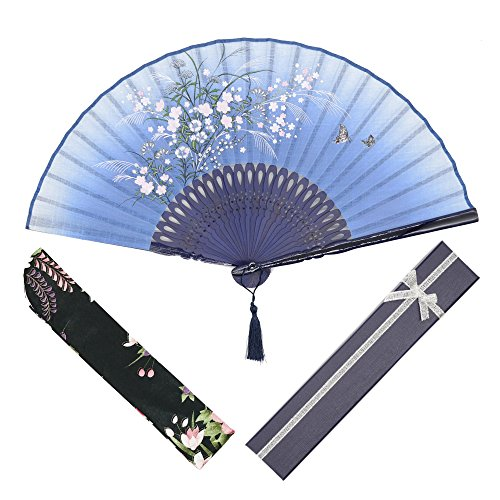 OMyTea Grassflowers 8.27(21cm) Folding Hand Held Fans - with a Fabric Sleeve for Protection for Gifts - Chinese/Japanese Vintage Retro Style (Blue with Gift Box)