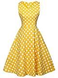 FAIRY COUPLE 50s V-Neck Rockabilly Polka Dots Floral Dress Vintage Dress Cocktail DRT072(L, Yellow White Dots)