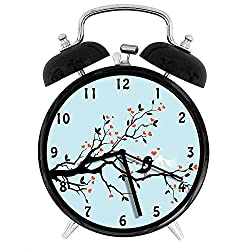 47BuyZHJX Decoration-Happy Bird Couple Perching on Tree with Heart Shaped Flowers,Retro Style 4 Twin Bell Alarm Clock with nightlight,On Bedside/Desk/Table for Home/Office